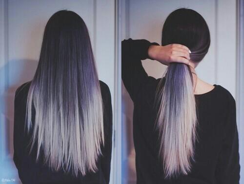 Темные волосы, окрашенные белым тоником